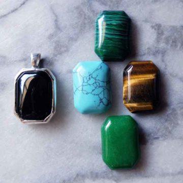 emerald cut cabochon pendant